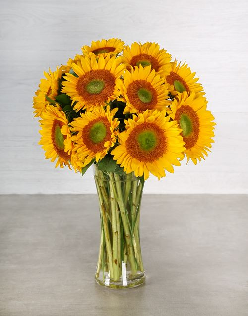 sunflowers: Sunny Green Button Sunflower Arrangement!
