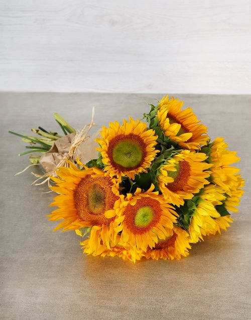 sunflowers: Sunny Green Button Sunflower Bouquet!