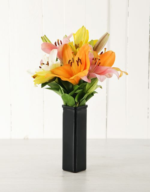 lilies: Sunset Asiflorum Lily Vase!
