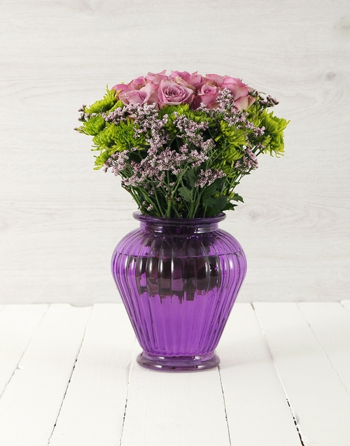 vase: Roses & Sprays in Purple Lantern Vase!
