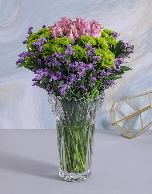 crystal-vases: Roses & Sprays in Clear Crystal Vase!