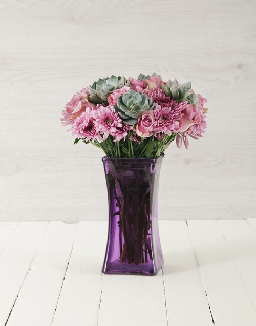 anniversary: Roses & Succulents in Purple Square Vase!
