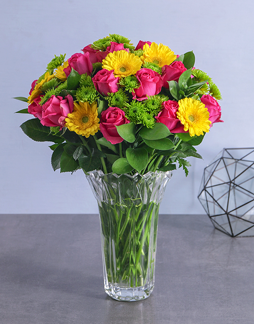 mixed: Mixed Flowers in Crystal Vase!