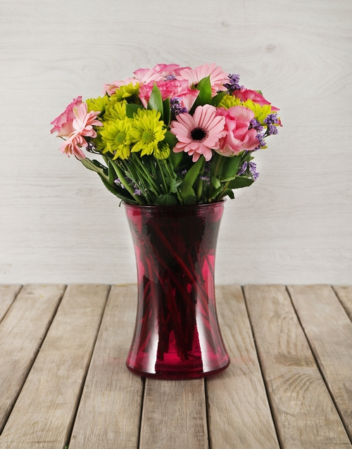 colour: Mixed Flowers in Pink Cylinder Vase!