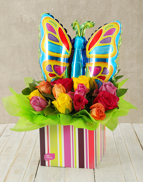 spring-day: Mixed Rose and Butterfly Balloon Box!