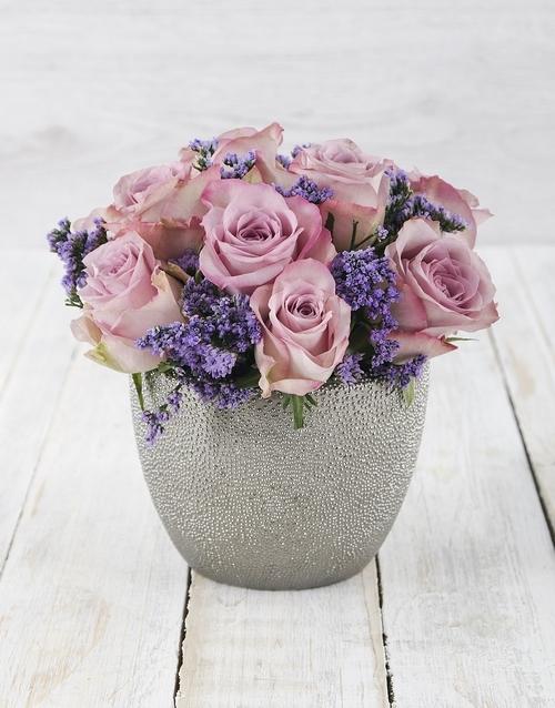 roses: Lavish Lilac Roses in Silver Ceramic Vase!