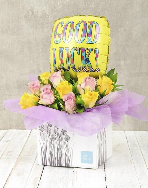 good-luck: Good Luck Rose and Balloon Box!