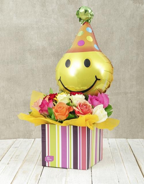 colour: Mixed Rose and Smiley Balloon Box!
