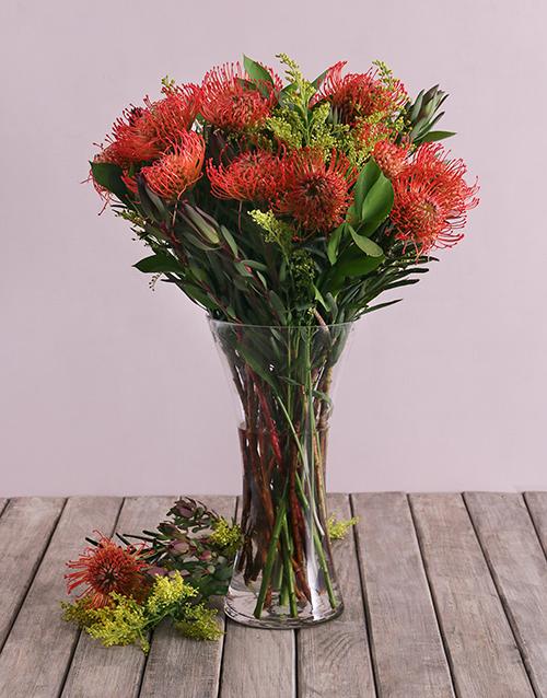 vase: Pincushion Proteas in Small Flair Vase!