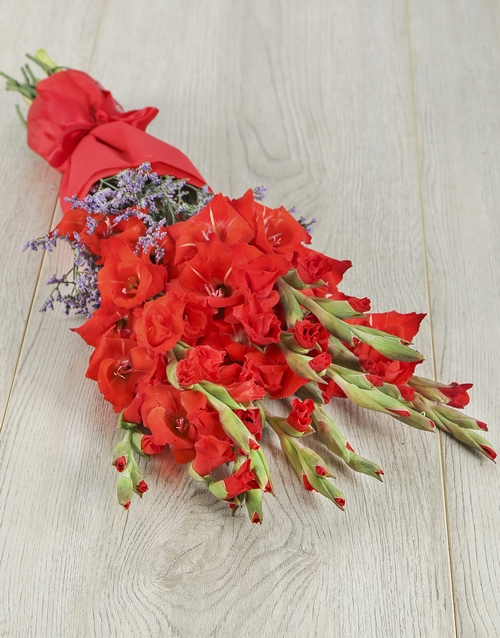 whats-new: Red Gladiolus and Statice Bouquet!