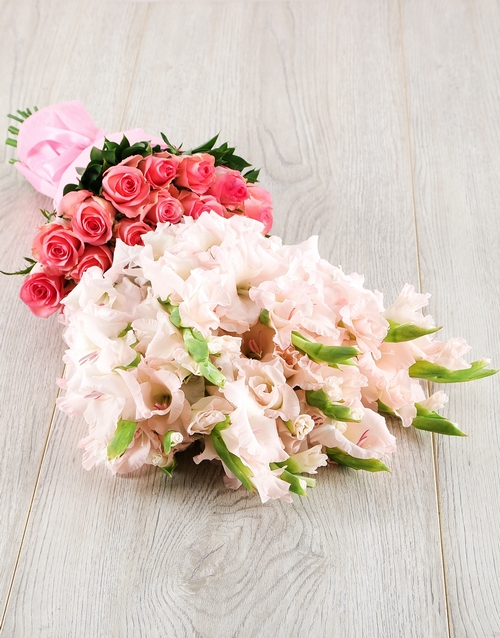 baby: Light Pink Gladiolus and Rose Bouquet!