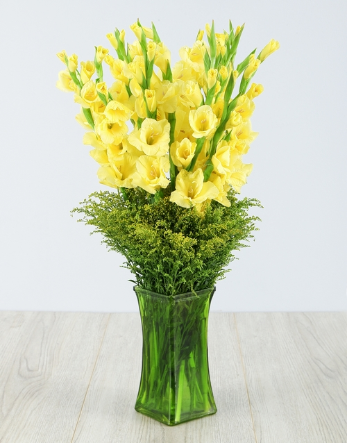 colour: Yellow Gladiolus in Green Square Vase!