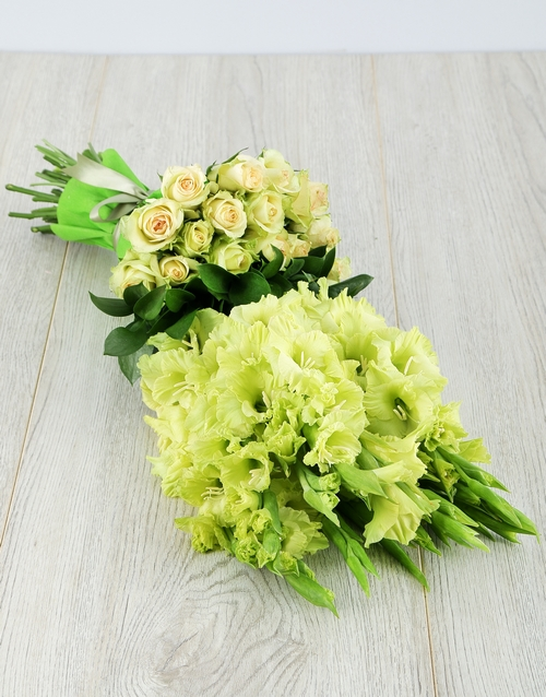 seasonal: Green Gladiolus and Rose Bouquet!