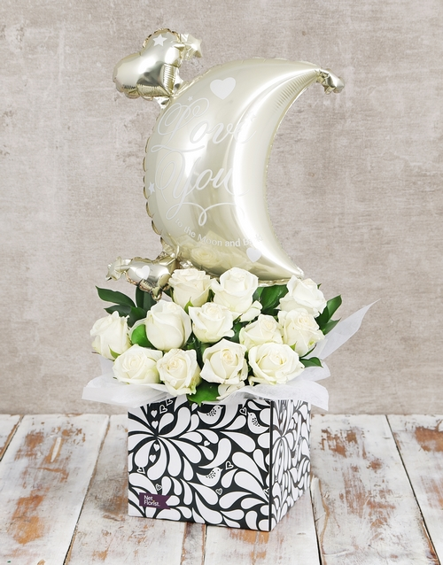 flowers: Moon and Back Balloon and White Rose Box!