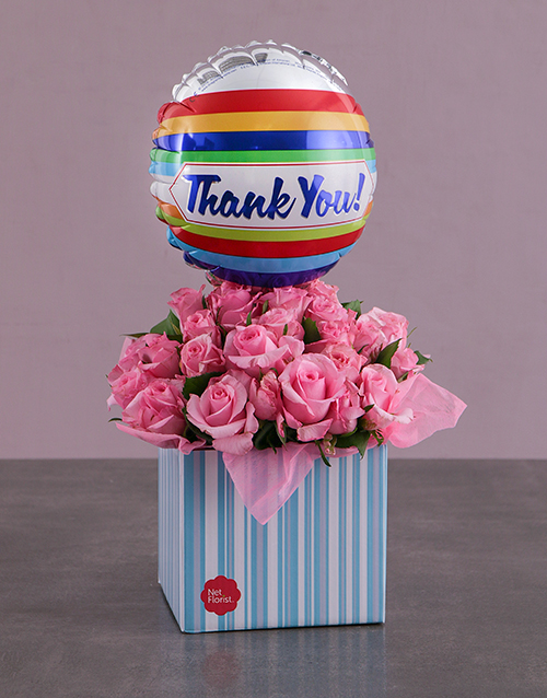 womens-day: Thank You Balloon and Pink Rose Box!