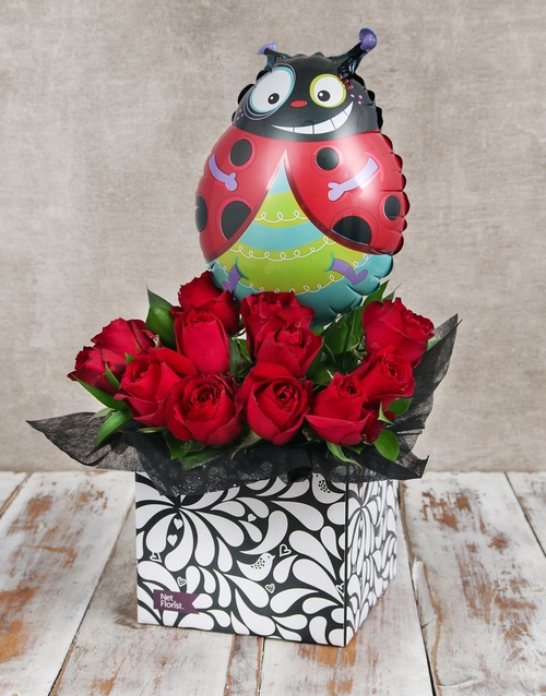 flowers: Ladybug Balloon and Red Rose Box!