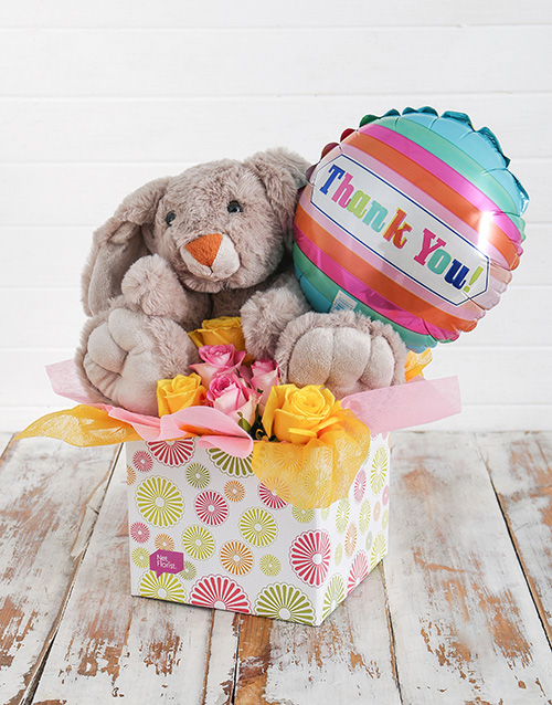teddy-bears: Rabbit Roses and Thank You Balloon Box!