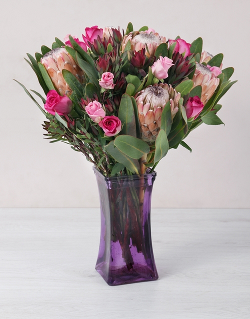 seasonal: Roses and Protea in a Purple Square Vase!