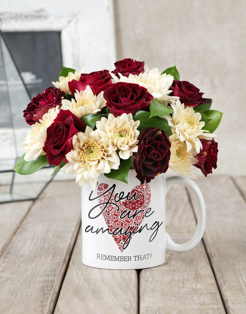 flowers: You Are Amazing Rose Mug Arrangement!