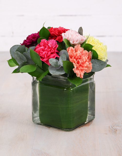 prices: Mixed Carnations in Small Square Vase!