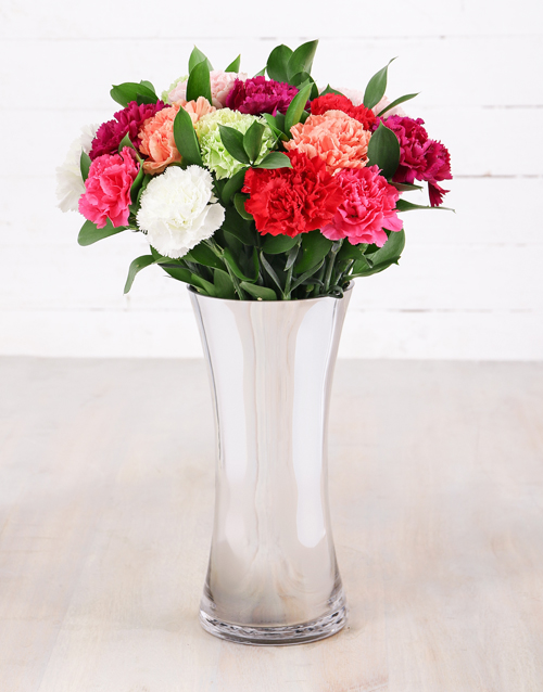 carnation: Mixed Carnations in Silver Flair Vase!