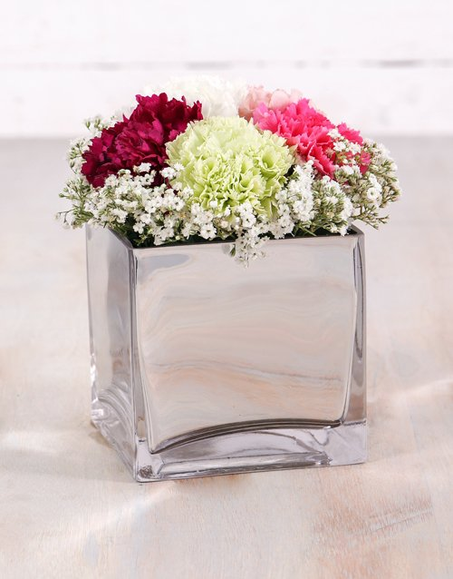 carnation: Mixed Carnations in Silver Square Vase!