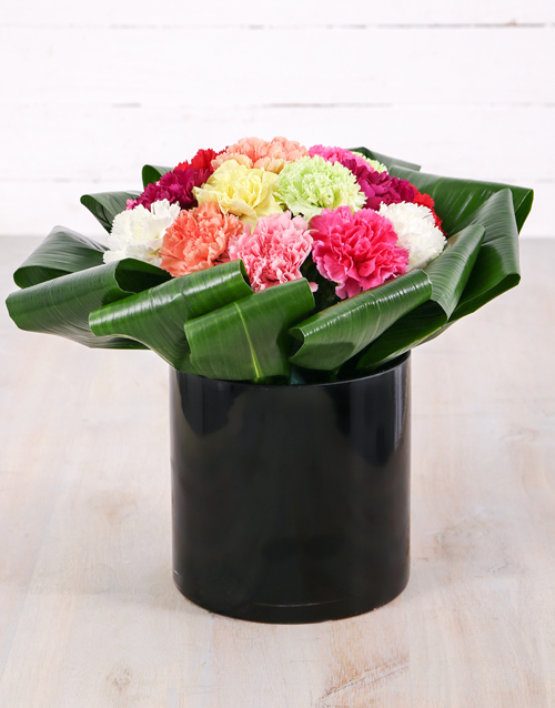 coloured-vases: Mixed Carnations in Solid Cylinder Vase!