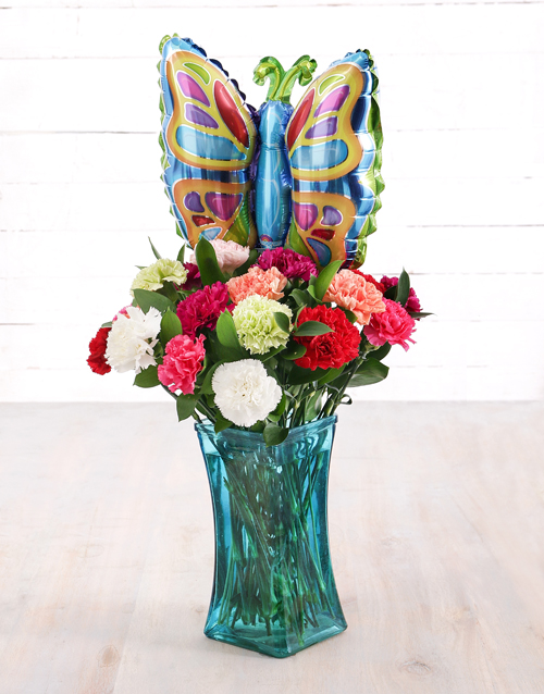 coloured-vases: Carnations and Butterfly Balloon Treat!