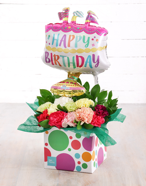 Mixed Carnations And Birthday Cake Balloon Box