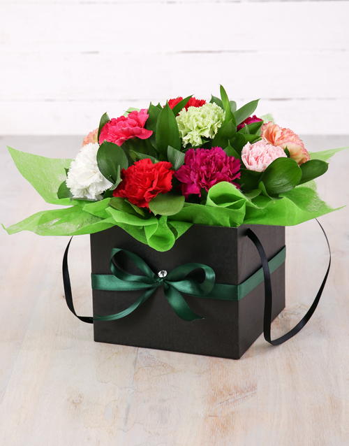 in-a-box: Mixed Carnations in Black Flower Box!
