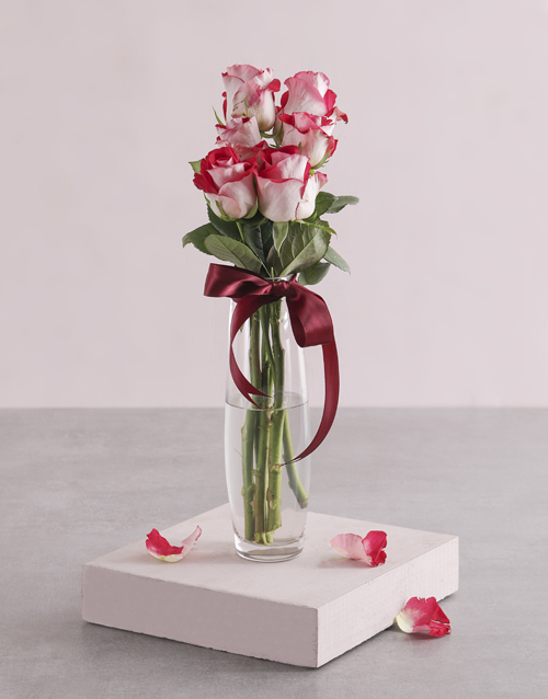speciality: Variegated Roses in Tall Bullet Vase!