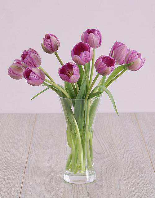 seasonal: Purple Tulips in Flair Vase!