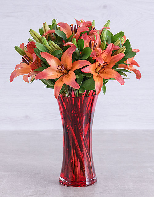 lilies: Sunset Lily Vase!