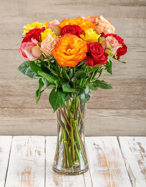 seasonal: Mixed Giant Ethiopian Roses in a Vase!