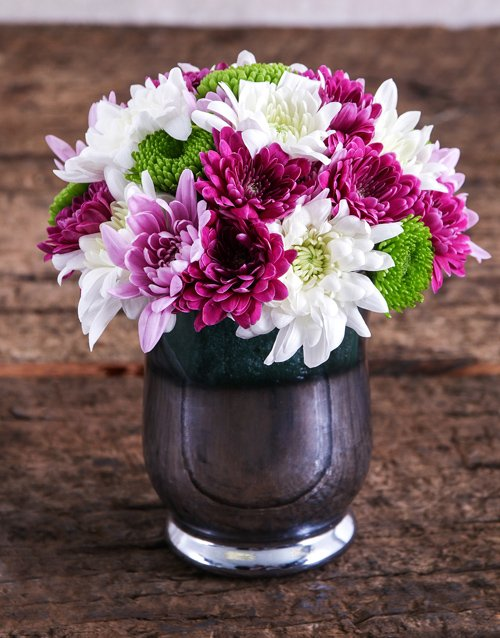 colour: Sprays in a Silver Hurricane Vase!