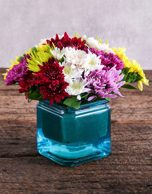 colour: Sprays in Square Blue Vase!