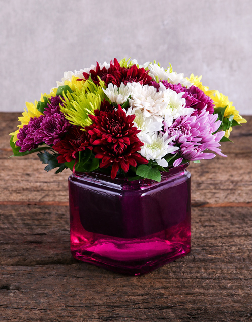 colour: Sprays in Pink Square Vase!