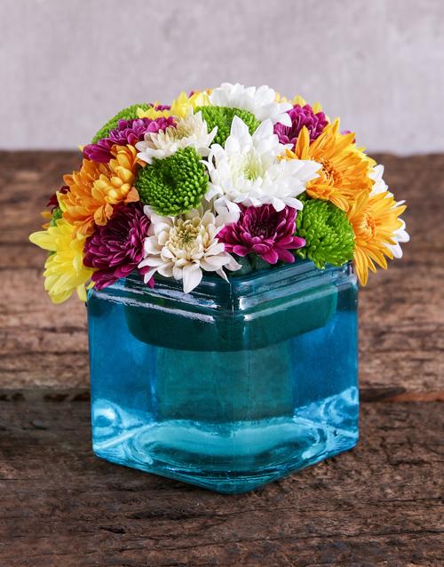 colour: Blue Square Vase of Sprays!