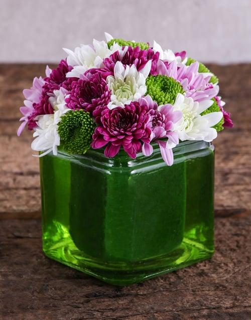 prices: Green Square Vase of Sprays!