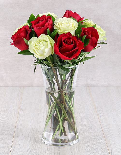 roses: Red and White Ethiopian Rose Vase!