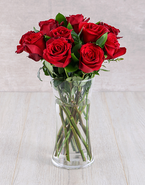 roses: Red Ethiopian Roses in Glass Vase!