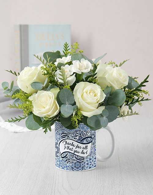 colour: Thanks White Rose Mug Arrangement!