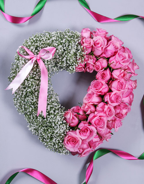 sympathy: Pink Rose and Million Star Funeral Heart!