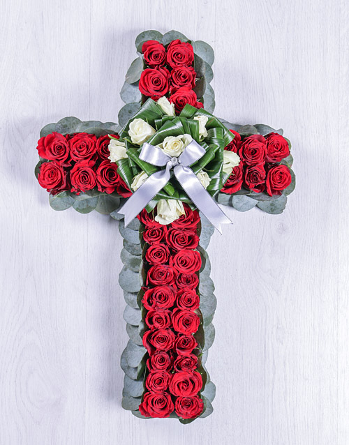 colour: Red and White Rose Funeral Cross!