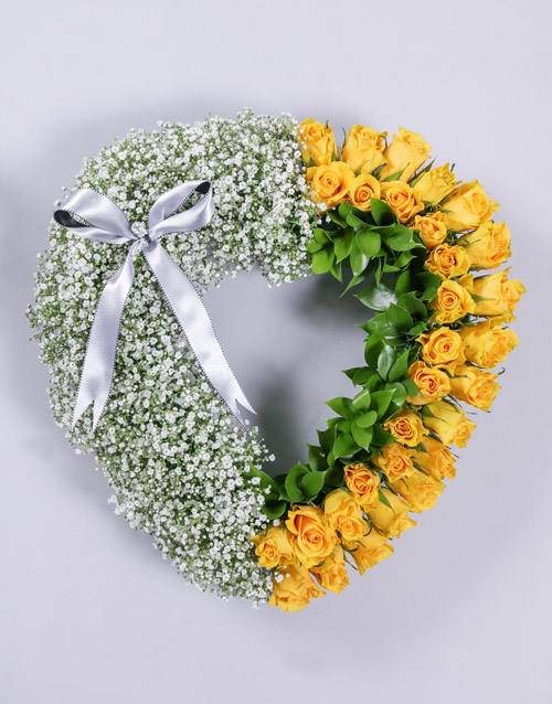 sympathy: Yellow Rose and Million Star Funeral Heart!