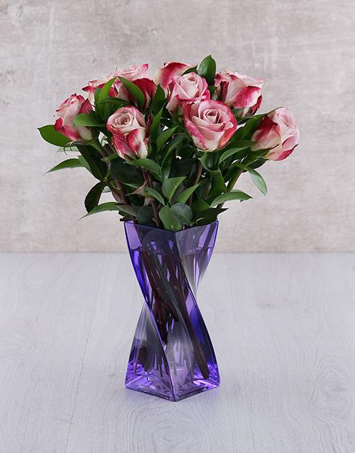 birthday: Variegated Roses in Purple Twisty Vase!