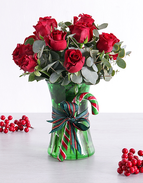 christmas: Red Candy Cane Rose Vase!