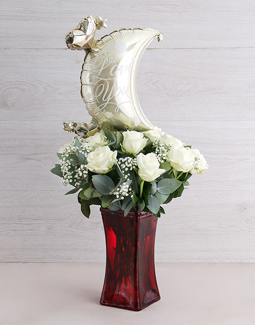 anniversary: To the Moon White Rose Vase!
