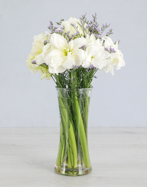 lilies: Cut Amaryllis in Small Clear Flair Vase!