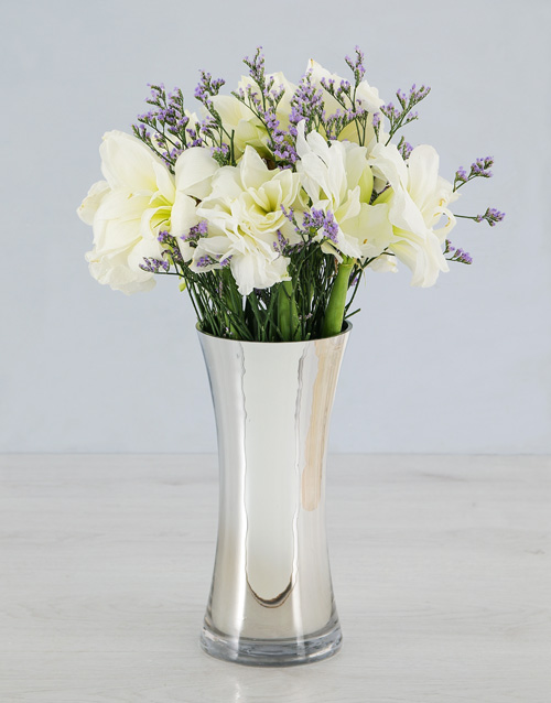 lilies: Cut Amaryllis and Latifolia in Silver Flair Vase!